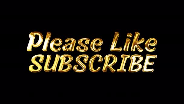 Please Like Subscibe golden text with light glowing effect isolated with alpha channel Quicktime Prores 444 encode. 4K 3D rendering seamless loop light effect video cover for overlay your footage.