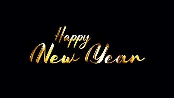 Frohes neues Jahr goldene Handschrift Text mit Lichteffekt isoliert mit Alpha-Kanal Quicktime prores 444 nahtlose Schleife. 4K 3D Rendering Animation.