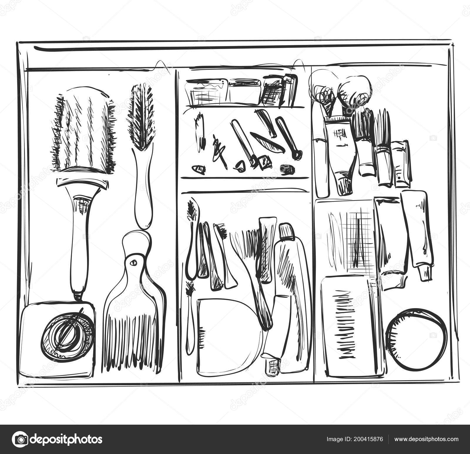 makeup brushes and other cosmetic in drawers  — stock
