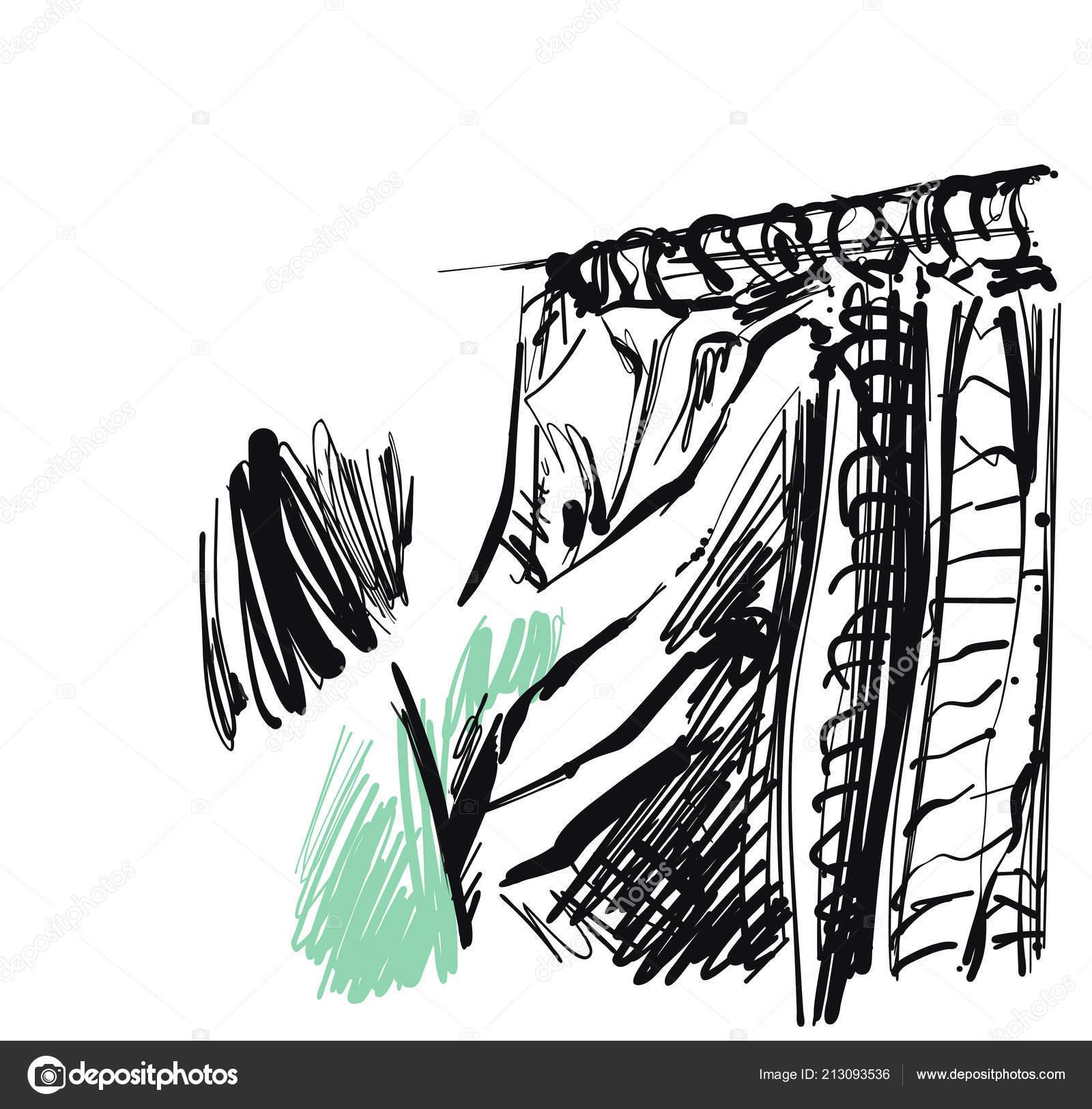 fd97abb2d Mujer elige una ropa. Tienda. Dibujar. Dibujado a mano — Archivo ...