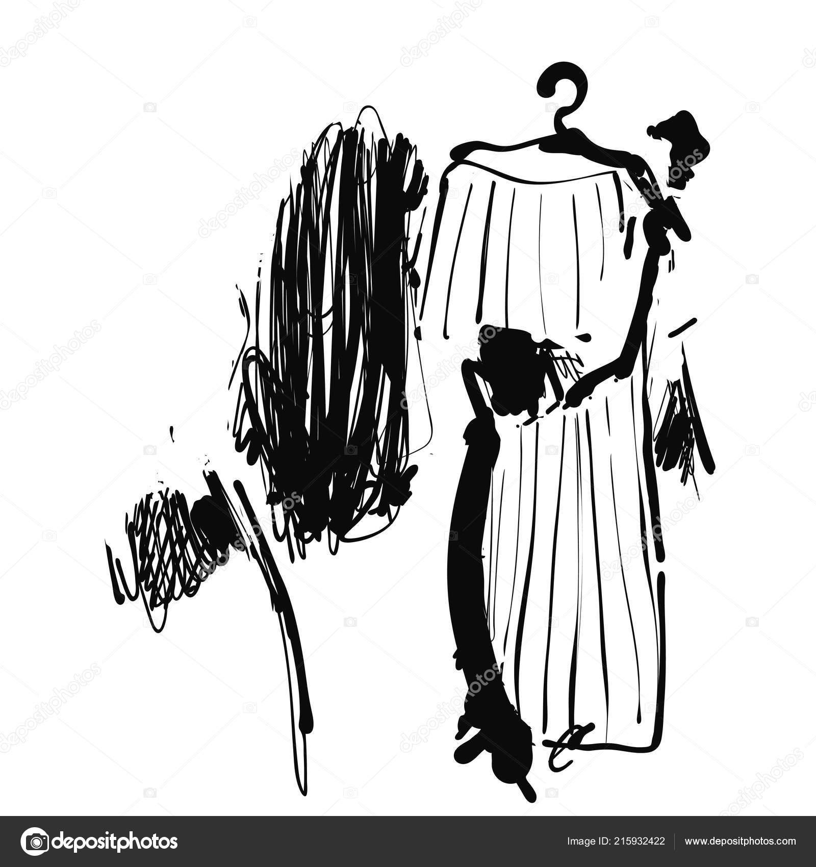 Mulher escolher um vestido. Loja com roupas. A desenhar. Mão desenhada —  Vetores 785c6e454ef