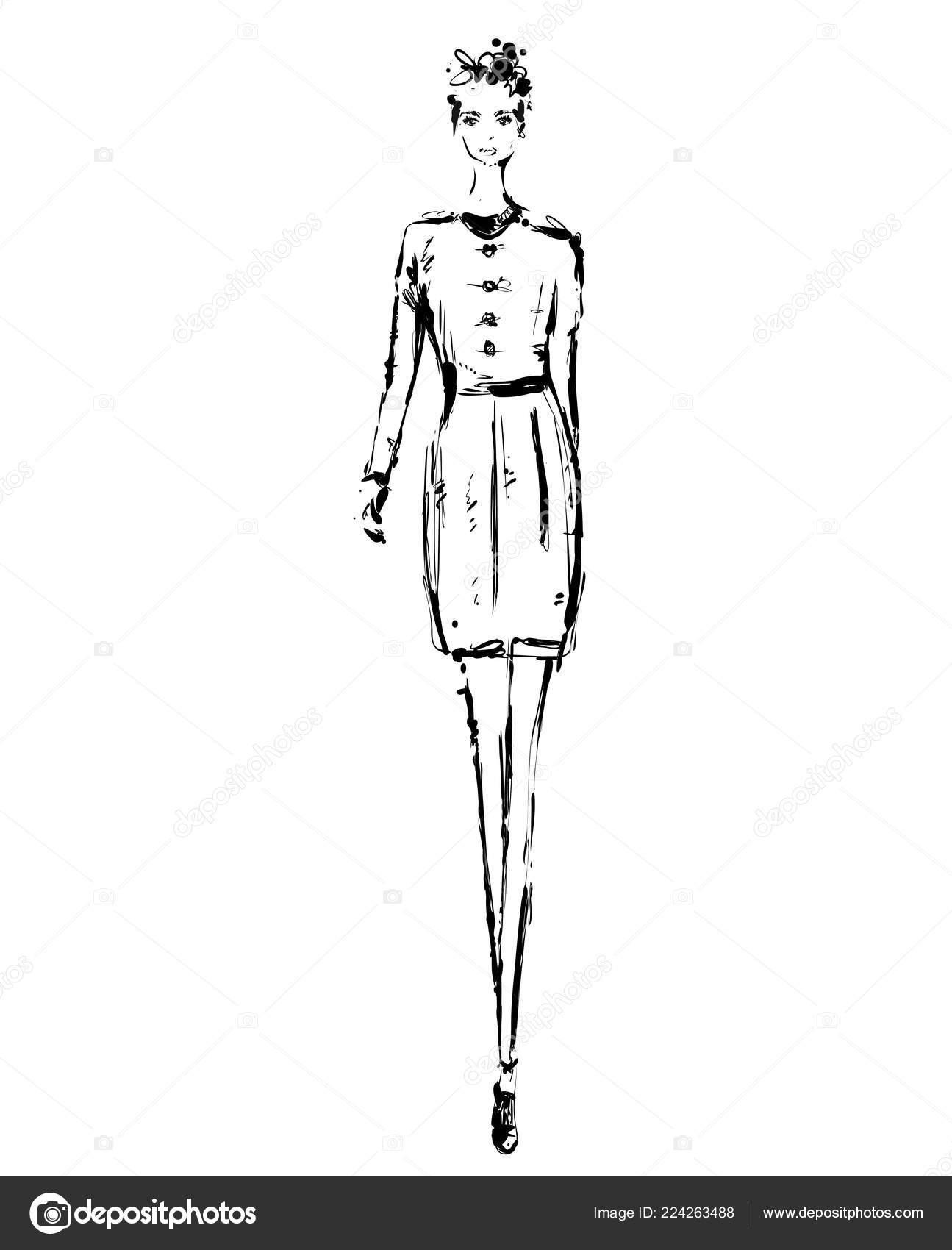 Abstrakte Kostenlose Modell Im Kleid Hand Gezeichnete Doodle