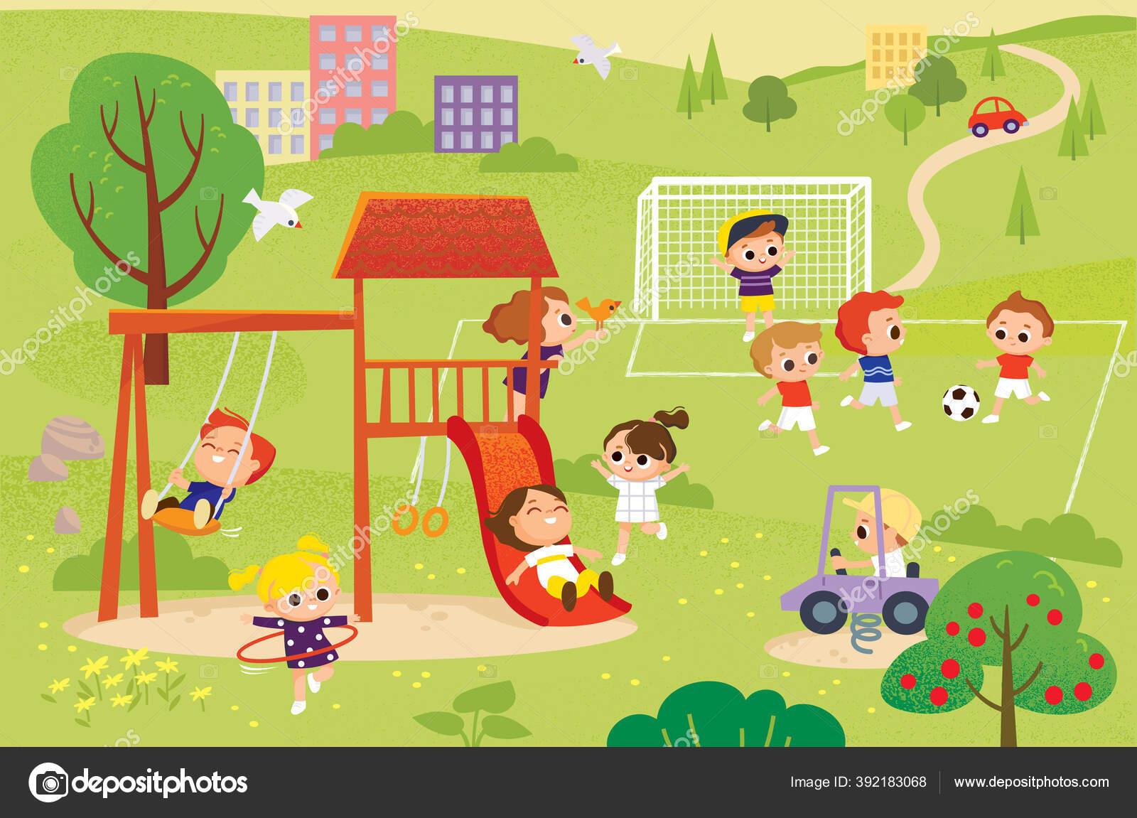 Gambar Ilustrasi Taman Bermain Anak Anak Bermain Taman Bermain Menghabiskan Waktu Dalam Permainan