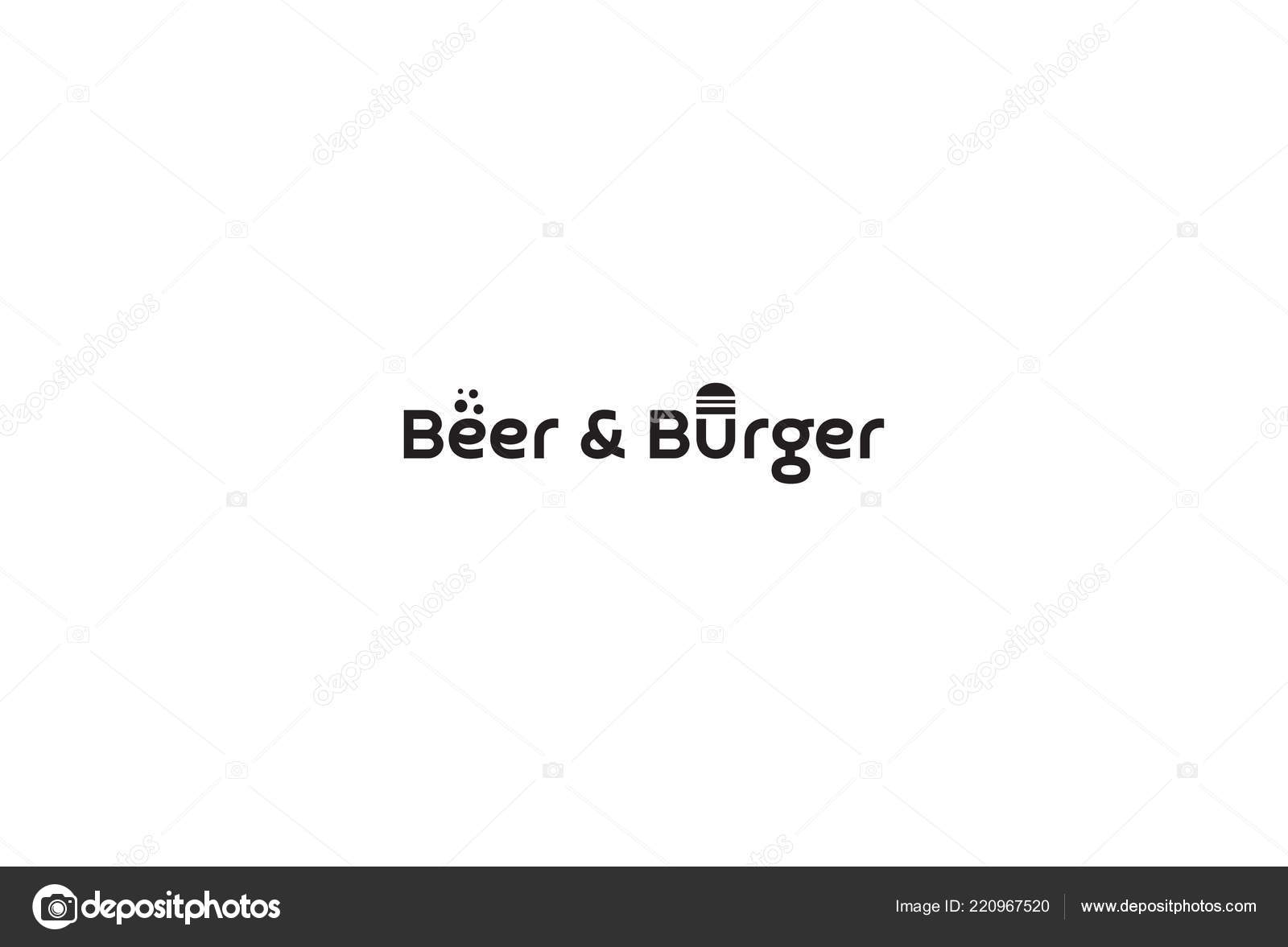 Logo Design Beer Burger Vector Image By C Amerenko Vector Stock 220967520