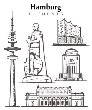 Set of hand-drawn Hamburg buildings elements sketch vector illustration. The Elbe Philharmonic hall,planetarium, monument to Otto von Bismarck, Kunsthalle, tv tower.