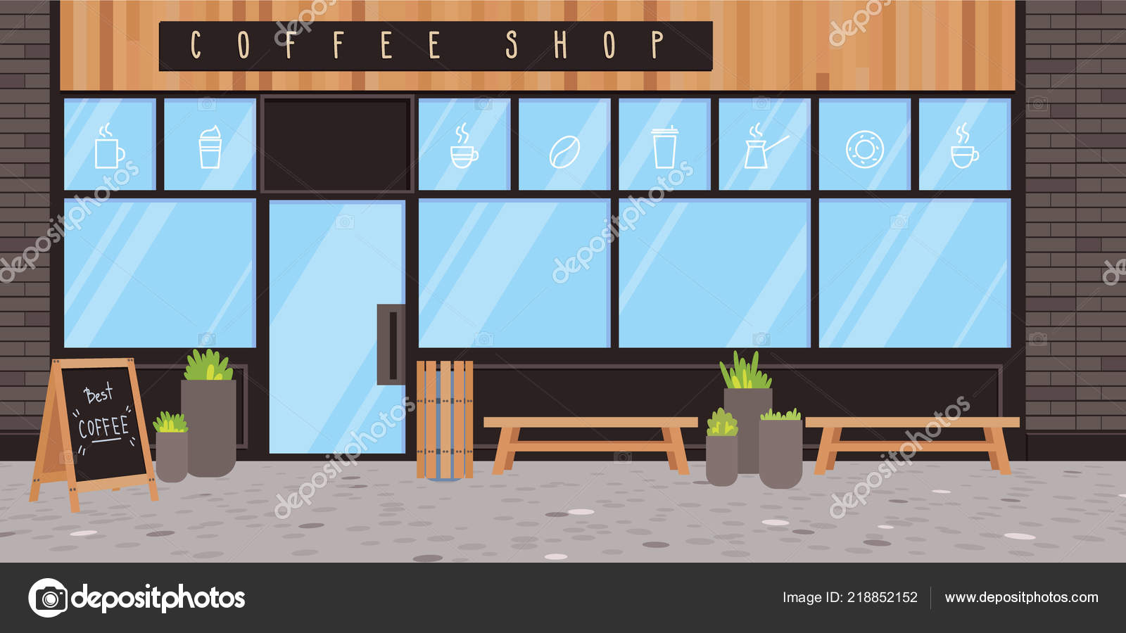 Perfect Coffee Shop Exterior Vector Flat Illustration Modern Design Black Bricksu2013  Stock Illustration