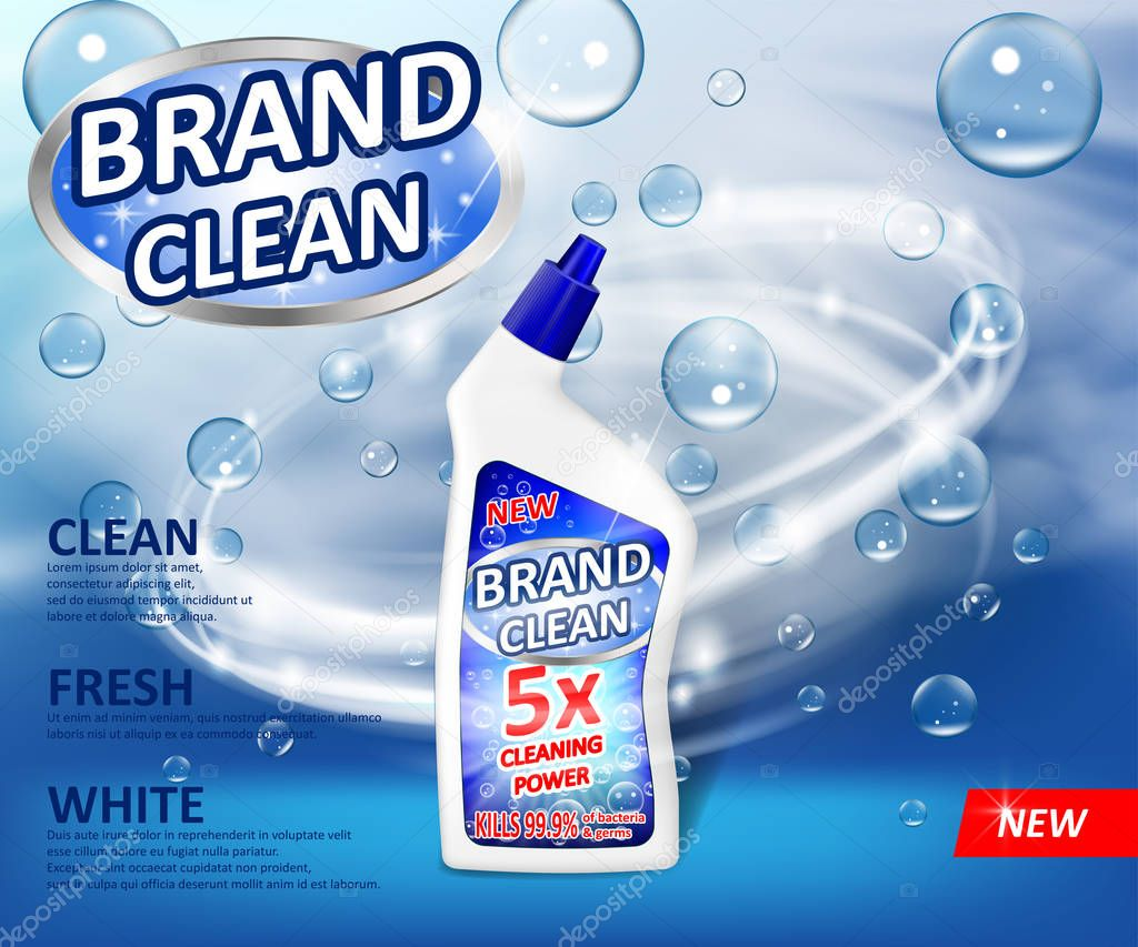 Realistic plastic cleaner container Advertising poster. Liquid detergent with soap bubbles and swirl on blue background. Cleaner for bathroom and toilet. 3d Vector illustration