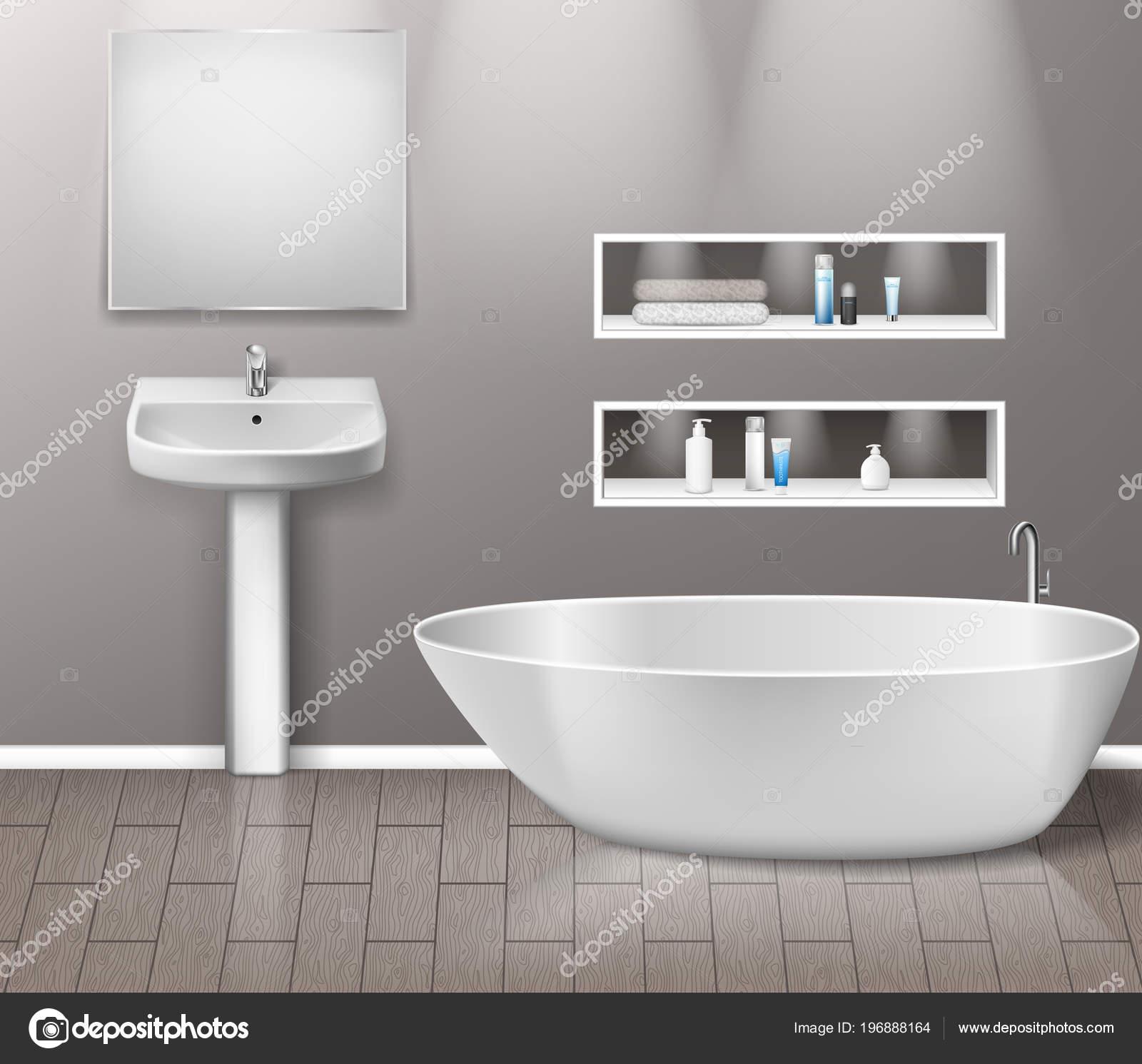 Realiste De Salle Bain Mobilier Interieur Avec Elements Lavabo Miroir Etageres Baignoire Et Decor