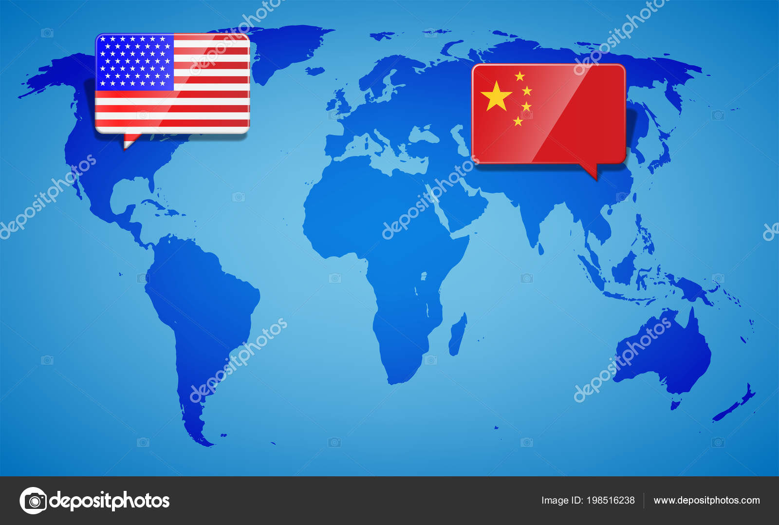 Usa and china at the blue world map background trade war with usa and china at the blue world map background trade war with america and china gumiabroncs Choice Image