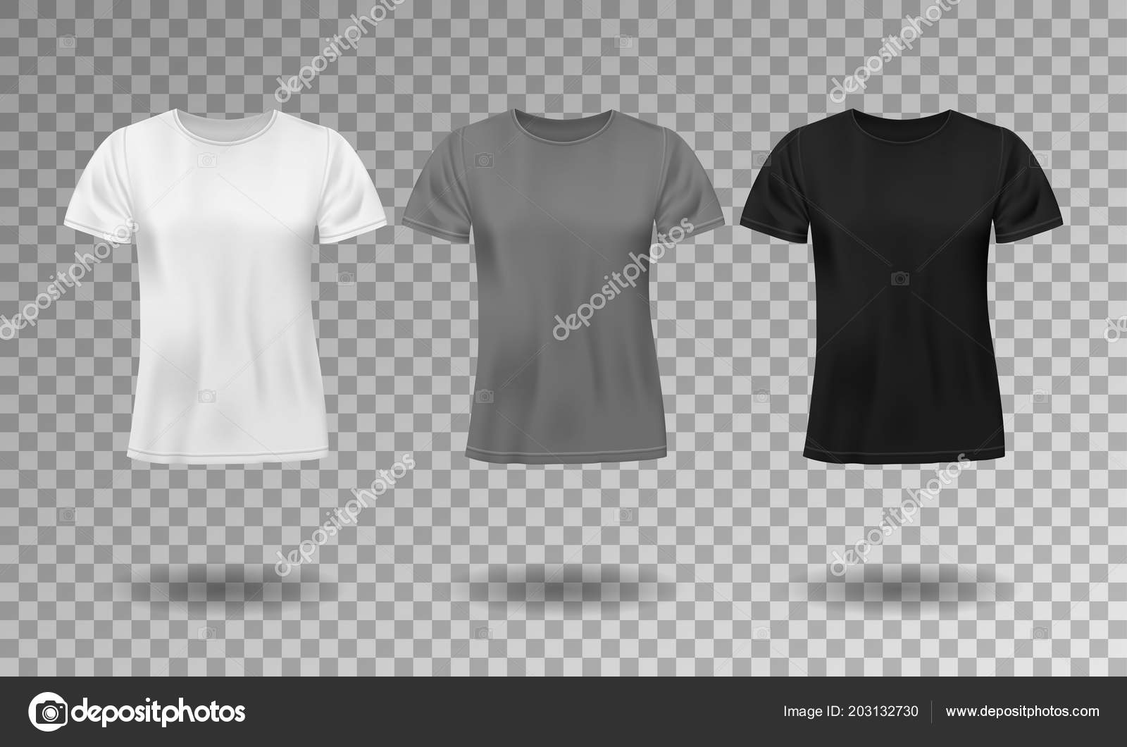 Black White And Gray Realistic Male T Shirt With Short Sleeves Blank Template Isolated Cotton Man Design Vector Illustration EPS 10