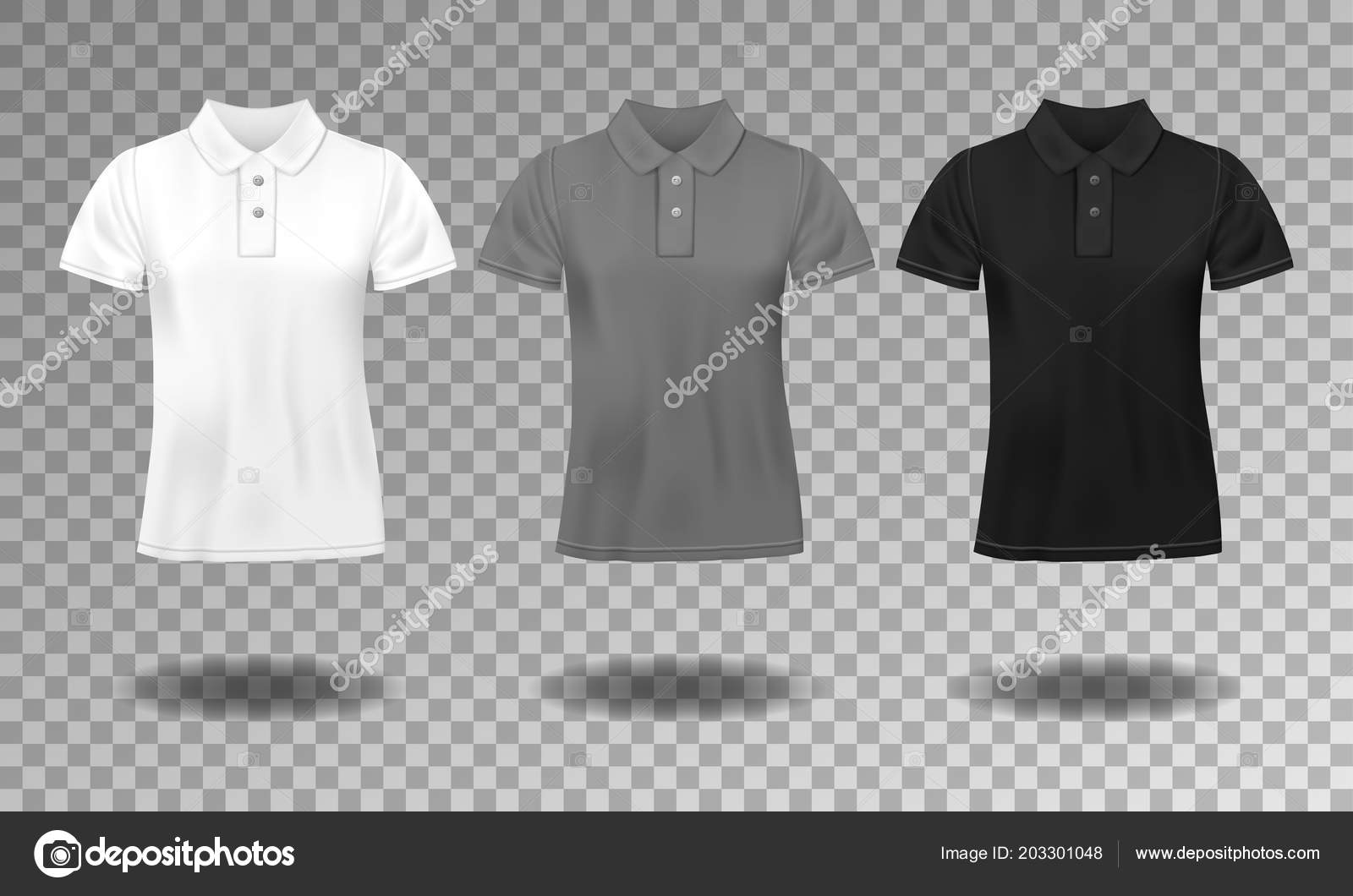 Black White And Gray Realistic Slim Male Polo T Shirt Design