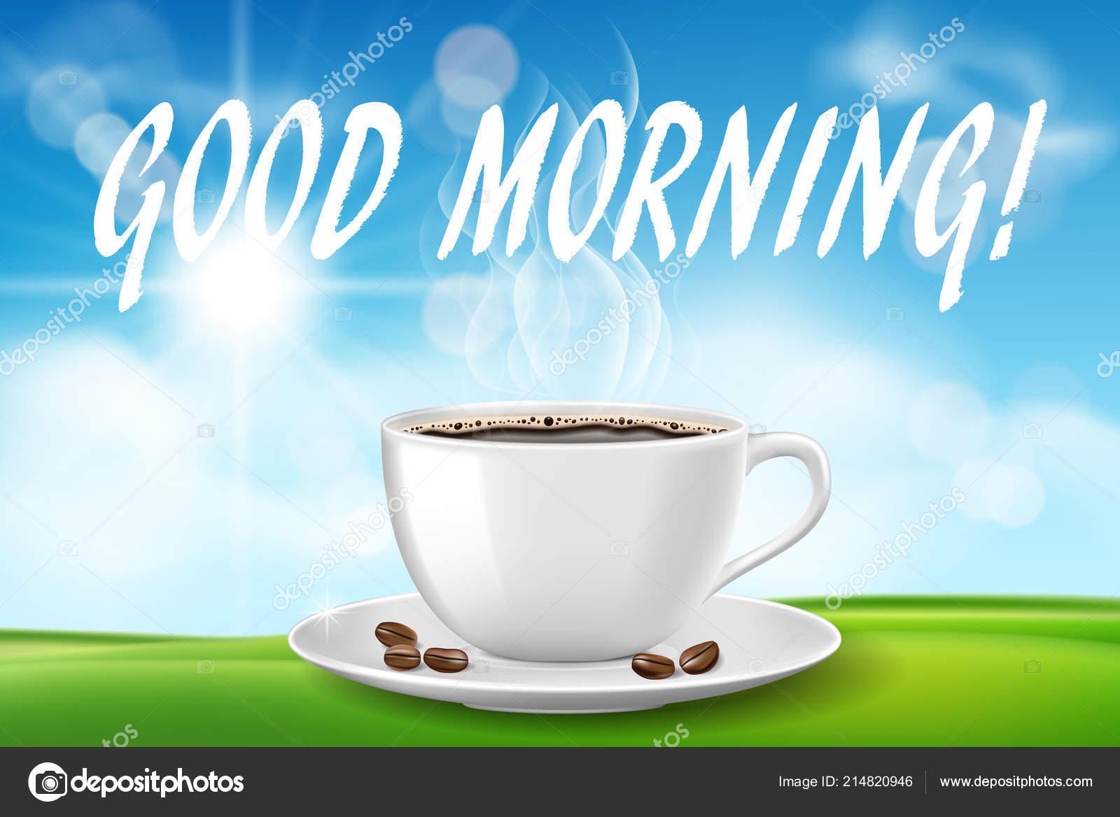 Guten Morgen Schönen Tag Mit Kaffeetasse Sonnigen Morgen Mit
