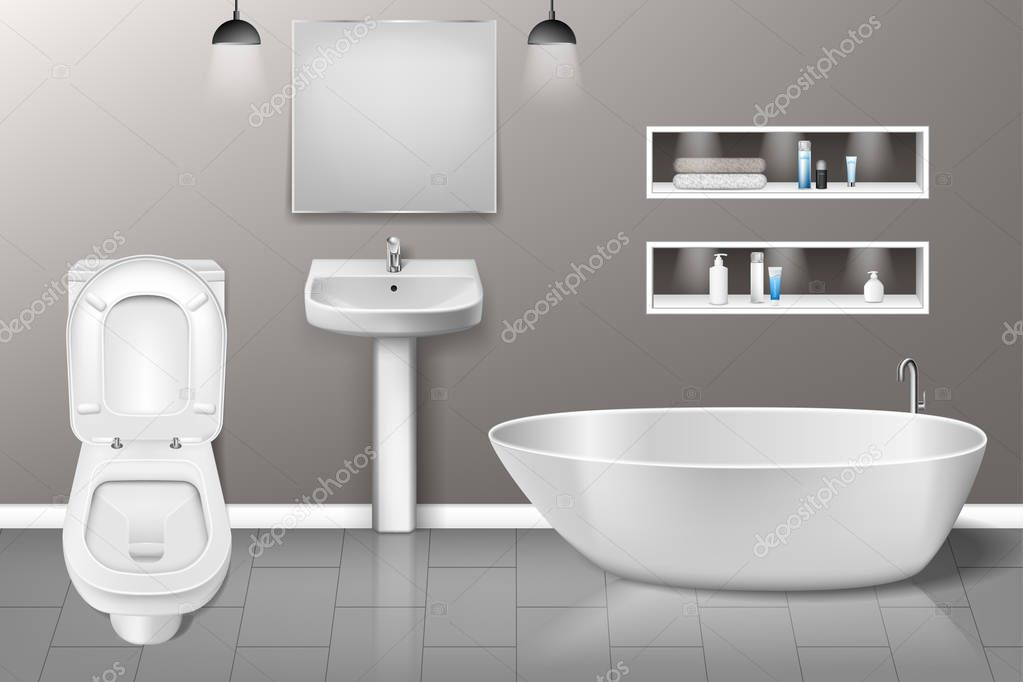 Bathroom Furniture Interior With Modern Bathroom Sink Mirror Toilet On Grey Wall Realistic Bathroom Interior Design Vector Illustration Eps 10 Premium Vector In Adobe Illustrator Ai Ai Format Encapsulated