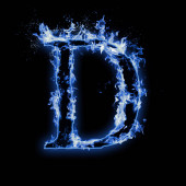 Letter D. Blue fire flames on black isolated background, realistic fire effect with sparks. Part of alphabet set