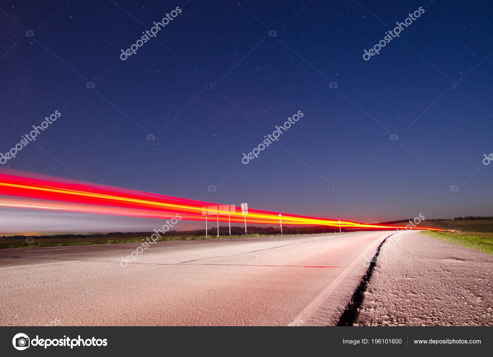 Asphalt Road Countryside Night Light Passing Speed Cars Long Exposure Stock Photo C Vox19 196101600