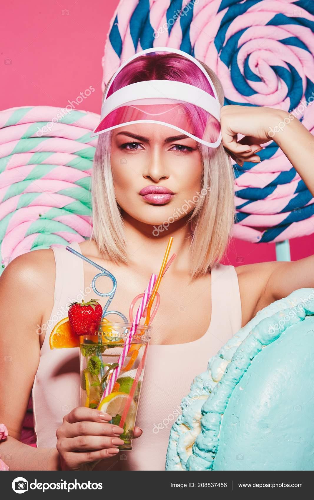 Pretty Girl Blonde Hair Wearing Top Pink Cap Eating Strawberry