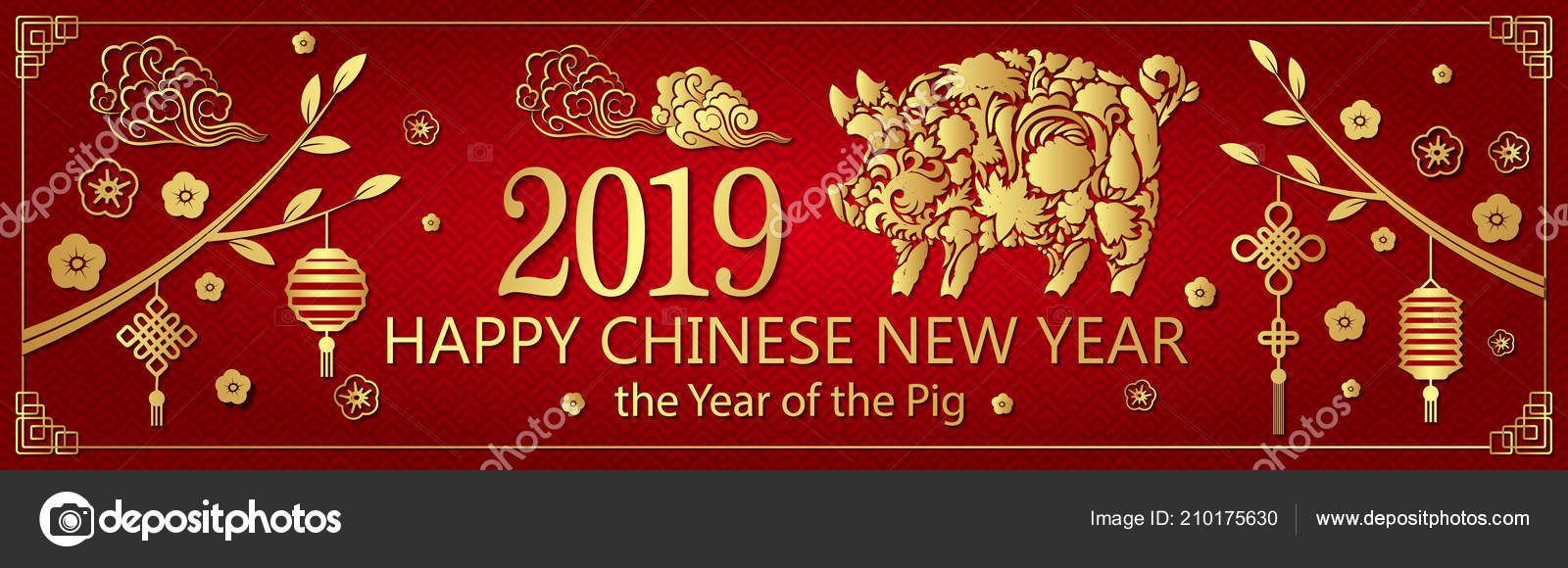 gold red pig horizontal banner chinese new year 2019 stock vector