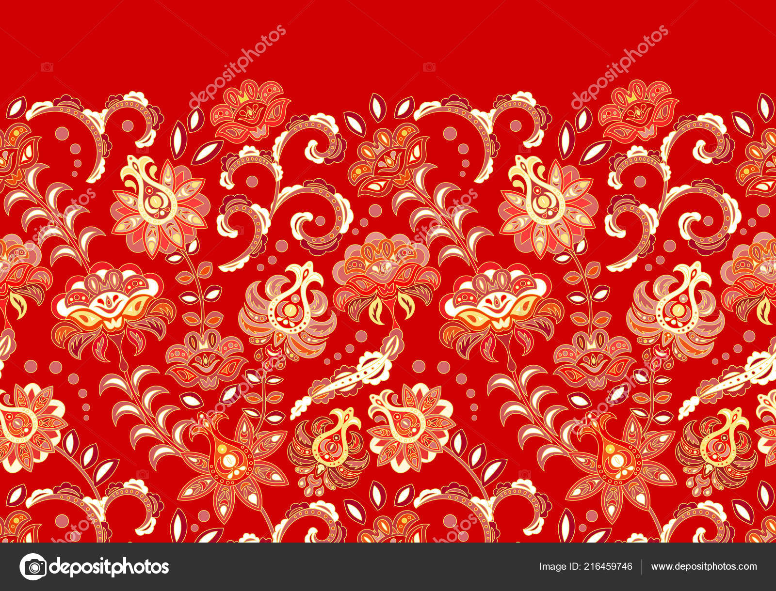 Decori artigianali , bordo floreale senza giunte con i fiori stilizzati.  Frangia di vettore orizzontale. Rosso\u2013 illustrazione stock