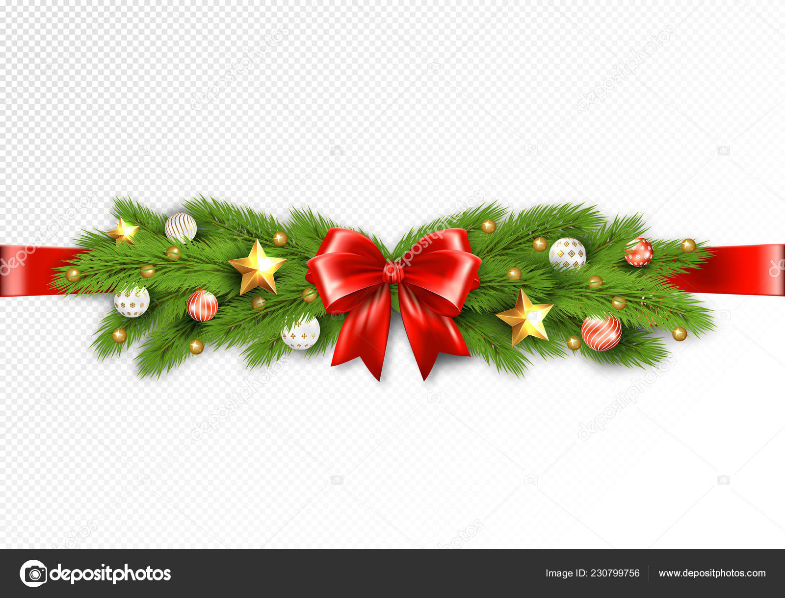 Detailed Christmas Garland Transparent Background Stock Vector