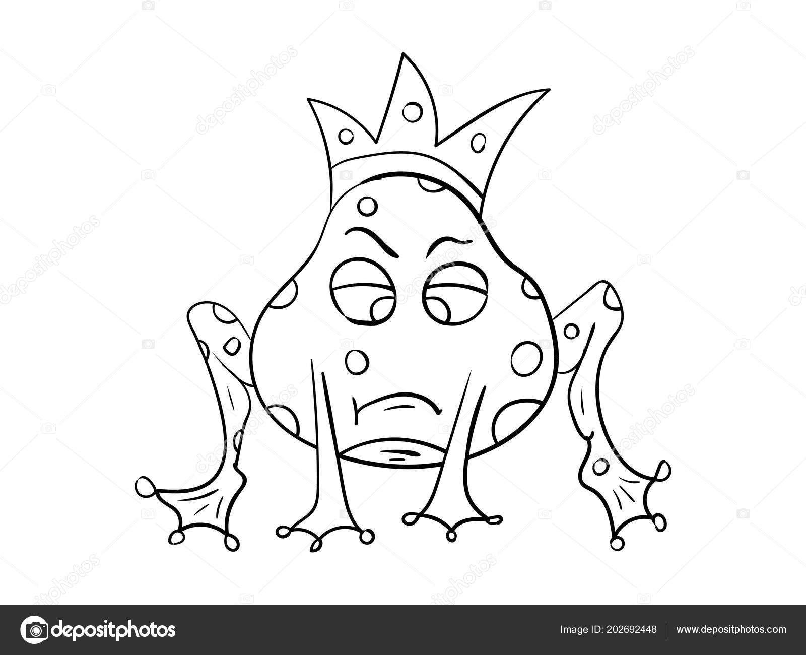 Kurbağa Prens Doodle Boyama Kitabı Için şablon Stok Vektör