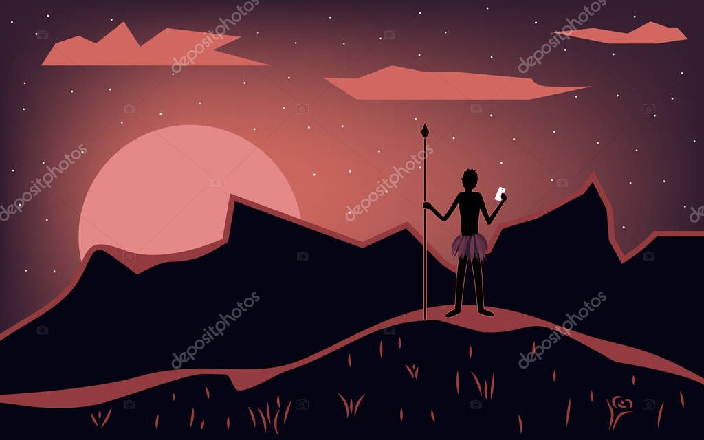 Aboriginal with a smartphone in his hand. Landscape during sunset. Vector illustration.
