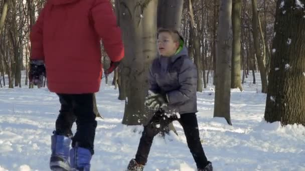 Two boys play snowballs in winter forest, slow motion