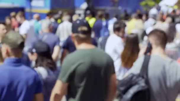 Kyiv, Ukraine - May 26, 2018: Blurred crowd of people at main street