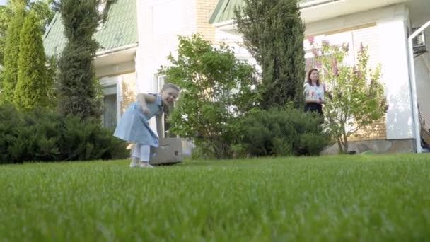 Litle mignon fille pull cardbox avec pétunia sur l'herbe de th dans le  jardin. Mère tente et aide de l'enfant adorable pour faire les travaux de  jardin.