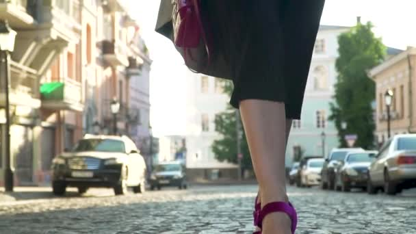 Woman In Black Dress And In Purple Shoes On High Heels Is Walking In