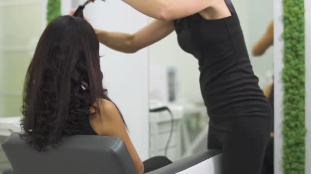 Beautiful girl does a hairstyle in a beauty salon