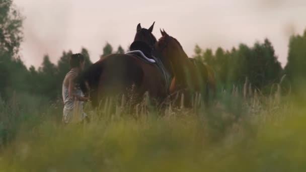 Zwei junge Mädchen mit Pferden auf dem Feld