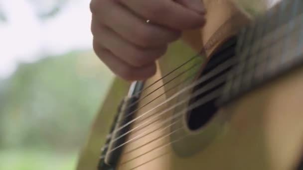 Mano umana gioca chitarra closeup