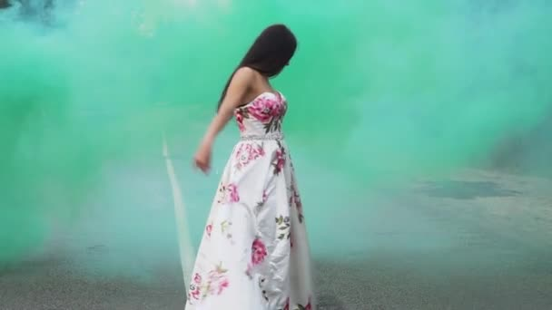 Sweet girl in a long dress walks in color smoke