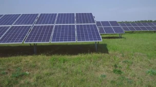 Solar power plant set in the field. Generation of clean renewable solar energy. Alternative energy power field. Green energy concept.
