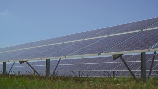 Velké solární elektrárna na louce.