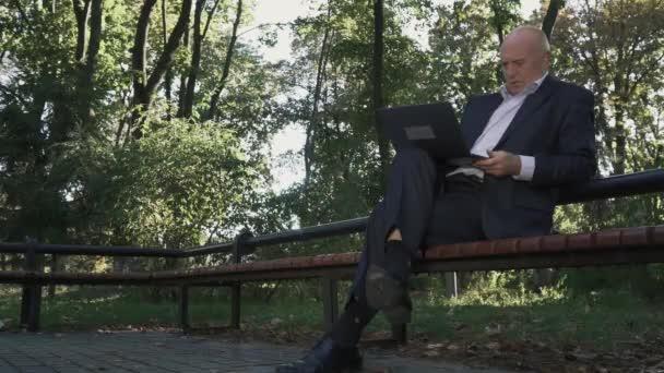 Alter Mann arbeitet an Netbook im park