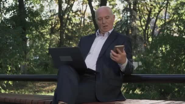 Reife Geschäftsmann arbeitet im park