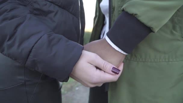 Female hand strokes black hand.