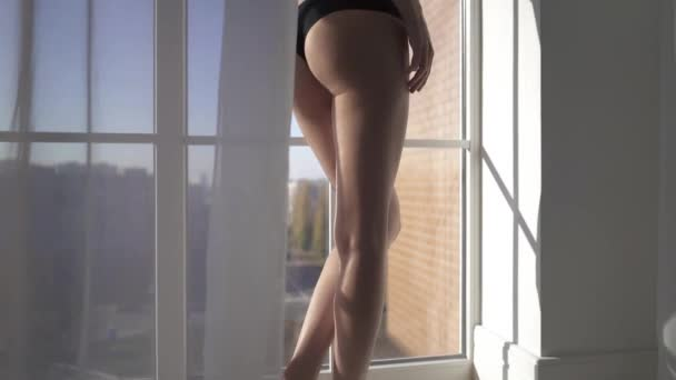 Naked sexy young brunette with long hair looking at amazing street view from huge window. Female butt in underwear. Sensual and passionate woman.