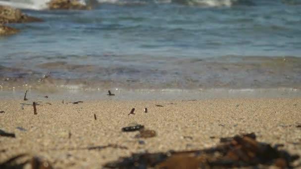 Dech modré vlnící šplouchnutí na Kypr pískové pláži v zobrazení makra s rocky rozostření pozadí