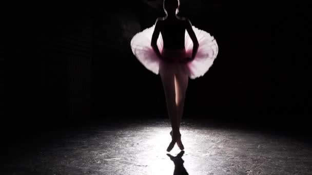 Beautiful silhouette of young ballerina on pointe shoes at black concrete floor background. Ballet practice. Woman shows classic ballet pas. Amazing slim figure of ballet dancer. Slow motion.