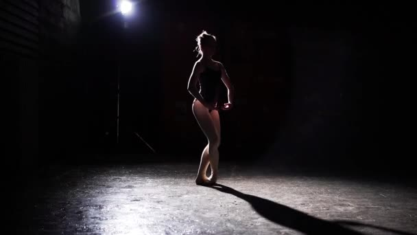 Professional graceful flexible ballerina dancing on her pointe ballet shoes in spotlight on black background in studio. Ballet dancer shows classic ballet pas wearing tutu and pointe shoes. Slow