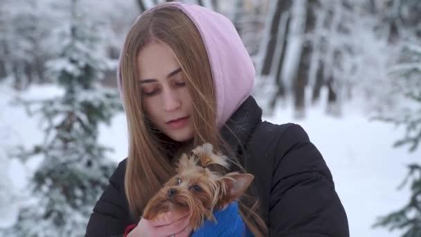 Mladá dívka se Jorkšírský teriér v zimě sněhem pokrytých parku drží psa zabalená v modré deky. V pubertě a psa na procházku venku
