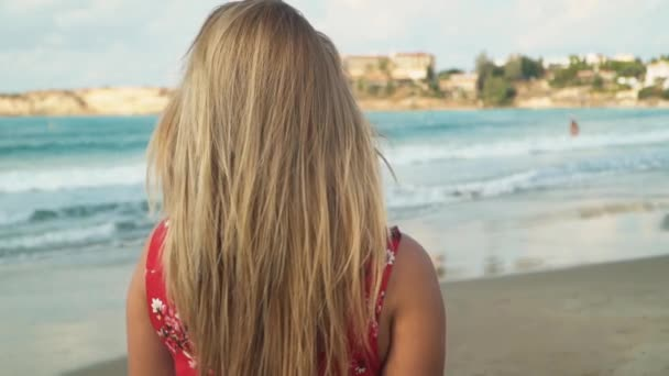 Attractive young girl standing with his back to the camera with fluttering hair in the wind enjoys the picturesque nature and gorgeous waves by the sea. Slow motion
