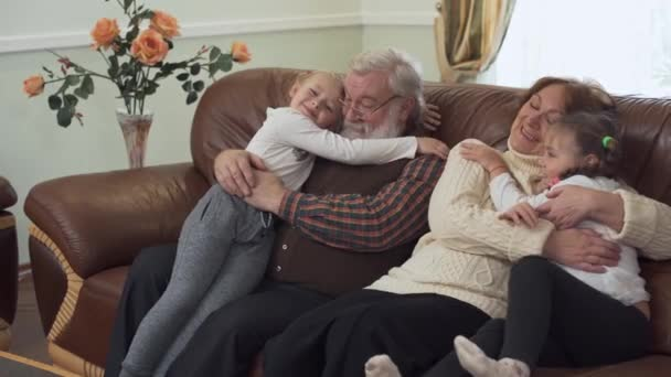 Brilliant Grandfather And Grandmother Sitting On Leather Sofa In Modern Living Room With Two Small Girls Near Granddaughters Cuddling Their Grandparents Leisure Of Happy Family Creativecarmelina Interior Chair Design Creativecarmelinacom