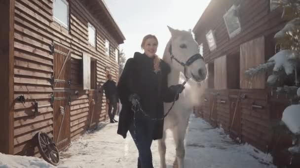 Pretty blonde walks with a beautiful white horse leading her holding a stirrup over a snow-covered country ranch.