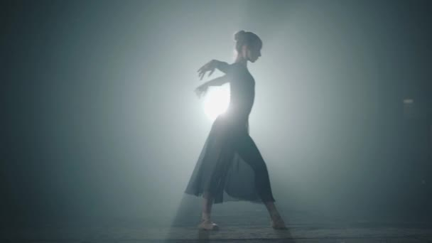 Graceful hard-working ballerina dancing in black dress in the studio in spotlight on a black background. Diligent ballet dancer performing dancing elements of classical ballet. Slow motion.