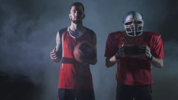 Multi sports collage with basketball, American football players. Conceptual photo with fit athletes in darkness with smoke. Super Bowl concept
