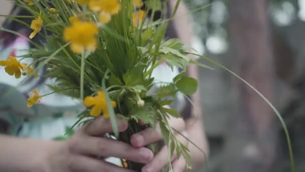 Close-up of wildflowers in female hands outdoors.
