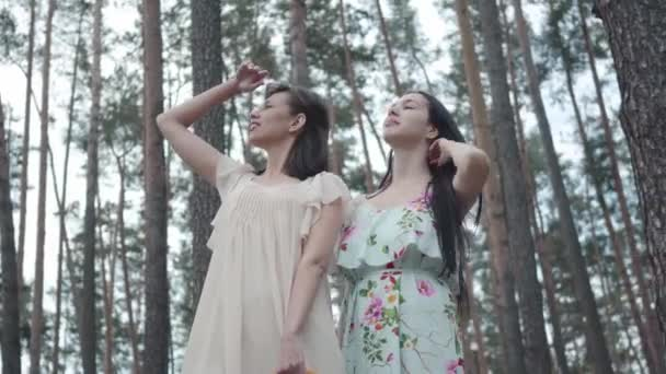 Portrait two cute young women wear dresses standing against the background of a pine forest and looking at amazing view of nature. Pretty girls walk outside the city. Adorable girlfriends outdoors.